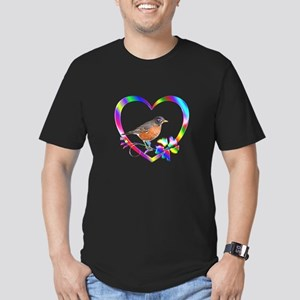 Robin In Colorful Hear Men's Fitted T-Shirt (dark)