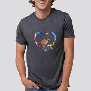 Robin In Colorful Heart Mens Tri-blend T-Shirt