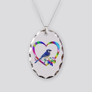 Blue Jay In Colorful Heart Necklace Oval Charm