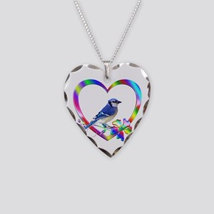 Blue Jay In Colorful Heart Necklace Heart Charm