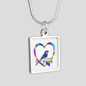 Blue Jay In Colorful Heart Silver Square Necklace