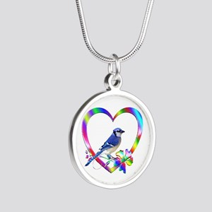 Blue Jay In Colorful Heart Silver Round Necklace