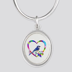 Blue Jay In Colorful Heart Silver Oval Necklace
