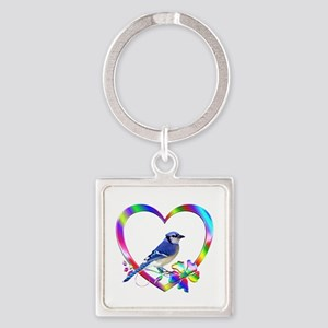 Blue Jay In Colorful Heart Square Keychain