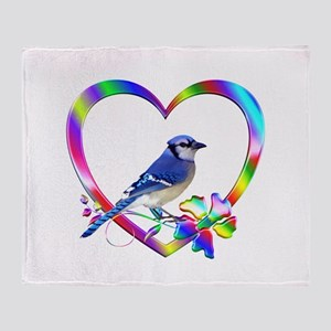 Blue Jay In Colorful Heart Throw Blanket