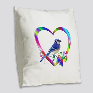 Blue Jay In Colorful Heart Burlap Throw Pillow