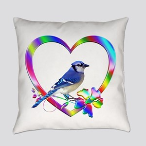 Blue Jay In Colorful Heart Everyday Pillow