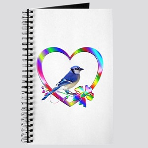 Blue Jay In Colorful Heart Journal