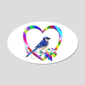 Blue Jay In Colorful Heart 20x12 Oval Wall Decal