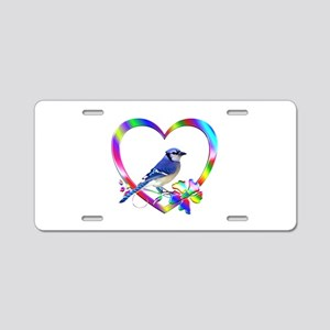 Blue Jay In Colorful Heart Aluminum License Plate