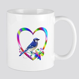 Blue Jay In Colorful Heart 11 oz Ceramic Mug
