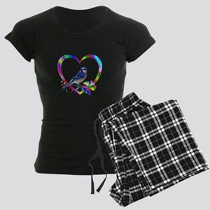 Blue Jay In Colorful Heart Women's Dark Pajamas