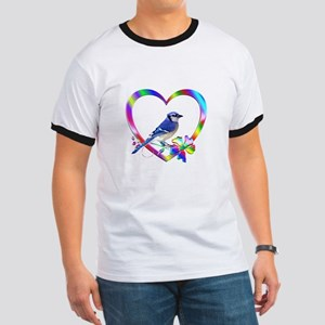 Blue Jay In Colorful Heart Ringer T