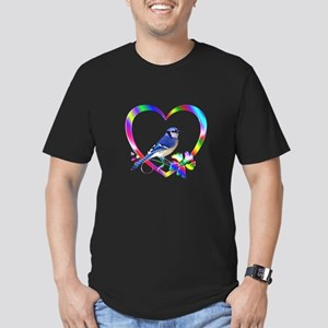 Blue Jay In Colorful H Men's Fitted T-Shirt (dark)