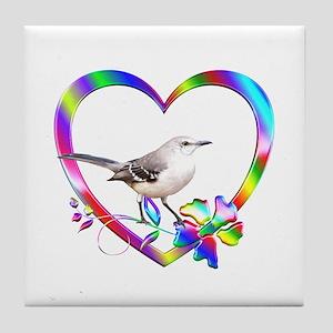 Mockingbird In Colorful Heart Tile Coaster