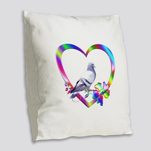 Pigeon In Colorful Heart Burlap Throw Pillow