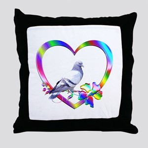 Pigeon In Colorful Heart Throw Pillow