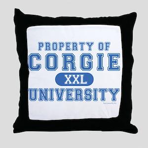 Corgie University Throw Pillow