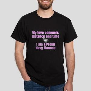 Love Conquers Navy Fiancee Dark T-Shirt