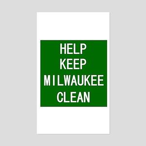 Help Keep Milwaukee Clean Rectangle Sticker