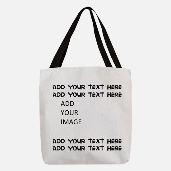 Custom Text and Image Polyester Tote Bag