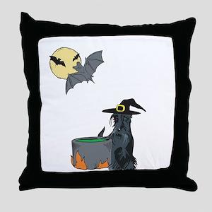 Scottie Witch Halloween Throw Pillow