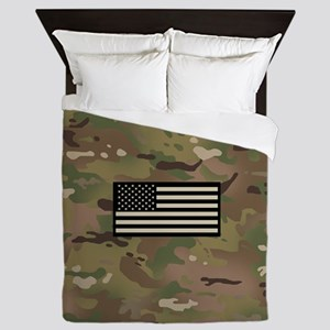U.S. Flag: Woodland Camouflage Queen Duvet