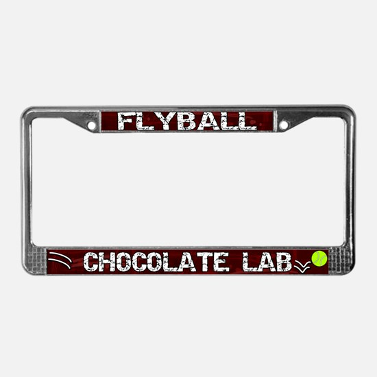 Flyball Chocolate Lab License Plate Frame