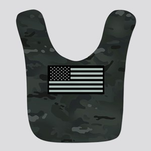 U.S. Flag: Dark Urban Camouflag Polyester Baby Bib