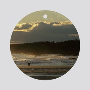 Lovers Walk On The Beach Ornament (Round)