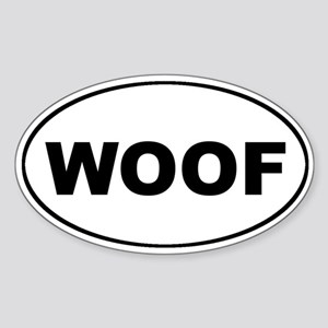 WOOF Dog Euro Oval Sticker