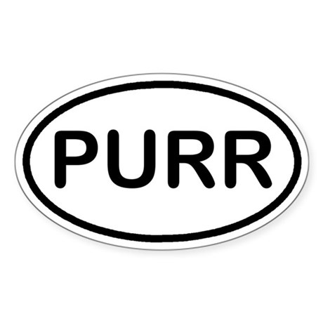 PURR Kitty Cat Euro Oval Sticker
