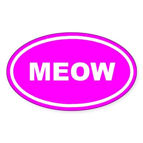 MEOW Kitty Cat Pink Euro Oval Sticker