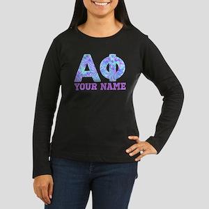 Alpha Phi Floral Women's Long Sleeve Dark T-Shirt