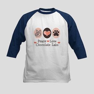 Peace Love Chocolate Lab Kids Baseball Jersey