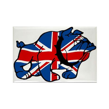 Union Jack British Bulldog Rectangle Magnet (10 pa