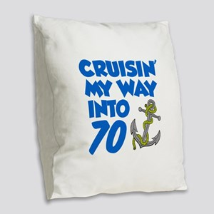 Cruisin Into 70 Burlap Throw Pillow