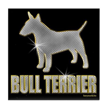 Bling Bull Terrier Tile Coaster