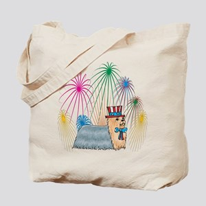 4th Of July Fireworks Yorkshire Terrier Tote Bag