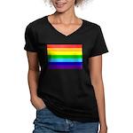 Rainbow Women's V-Neck Dark T-Shirt