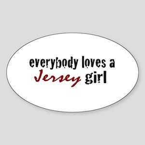 Everyone Loves a Jersey Girl Oval Sticker