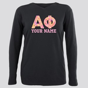 Alpha Phi Floral Plus Size Long Sleeve Tee
