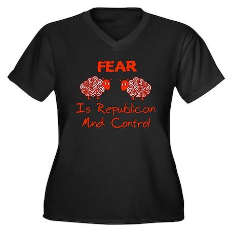 Fear Politics Women's Plus Size V-Neck Dark T-Shir