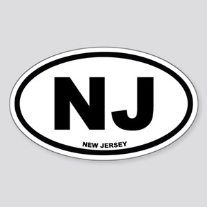 NJ New Jersey Euro Oval Sticker