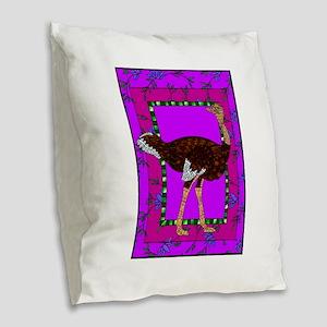 Ostrich Burlap Throw Pillow