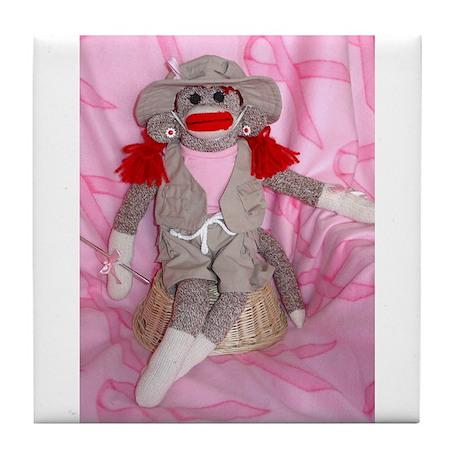 Sock Monkeys for the Cure Pink Ribbon Tile Coaster