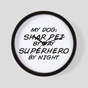 Shar Pei Superhero Wall Clock