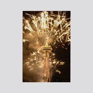 Seattle Space Needle Fireworks Rectangle Magnet