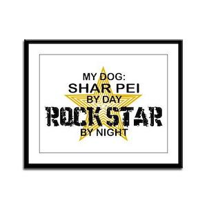 Shar Pei Rock Star Framed Panel Print