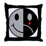 Happy Face Sad Face Throw Pillow